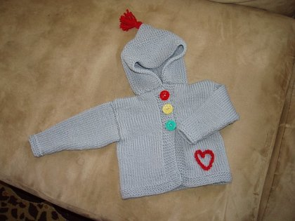 light grey baby hoodie, design by Sandy Kane