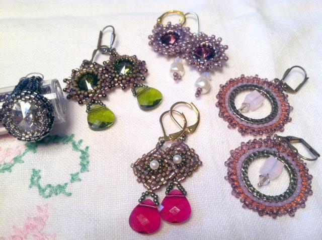 Retro-inspired earrings and Swarovski bling ring.