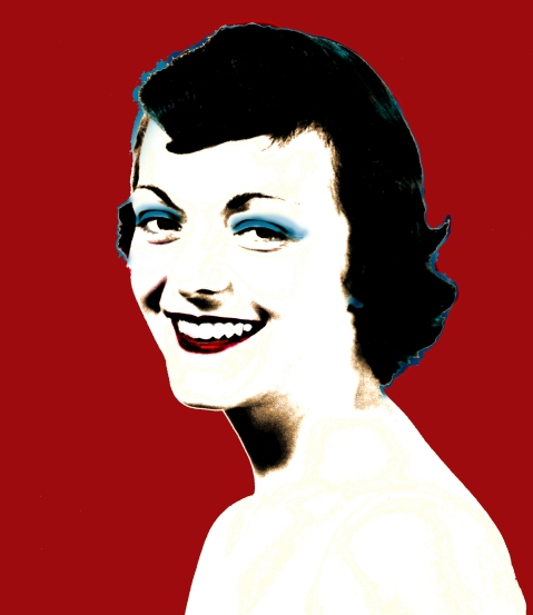 Photoshop portrait of my mom. Original photo from the 1950s. A 'Warhol' tribute to the most gorgeous woman I know.
