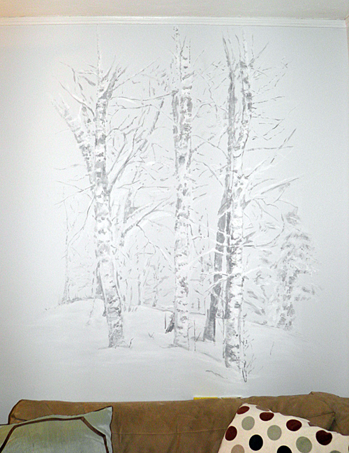 snow trees mural by Sandy Kane, 2010